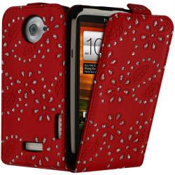 Housse Coque Etui de Protection avec Diamant Couleur Rouge pour HTC One X