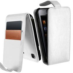 Housse Etui Portefeuille pour Samsung Galaxy S i9000 couleur Blanc