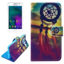 Etui Portefeuille de Protection et Support Motif pour Samsung Galaxy A3