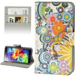 Etui Portefeuille Support Motif pour Samsung Galaxy S5 Mini