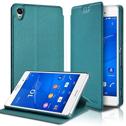Etui à rabat latéral Support Couleur Turquoise pour Sony Xperia Z3 + Film de protection