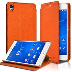 Etui à rabat latéral Support Couleur Orange pour Sony Xperia Z3 + Film de protection