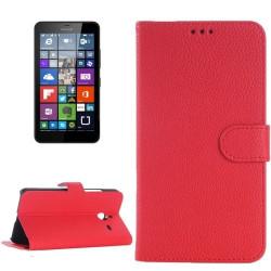 Etui Portefeuille Support Couleur Rouge pour Nokia Microsoft Lumia 640 XL