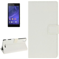 Etui Portefeuille Support Couleur Blanc pour Sony Xperia T3