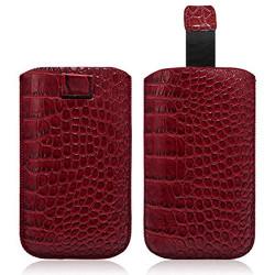 Housse Coque Etui Pochette Style Croco Couleur Rouge pour Nokia Lumia 720 / Lumia 820