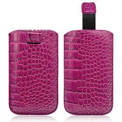 Housse Coque Etui Pochette Style Croco Couleur Rose Fushia pour Sony Xperia M / Xperia Z1 Compact / Xperia L