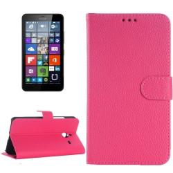Etui Portefeuille Support Couleur Rose pour Nokia Microsoft Lumia 640 XL