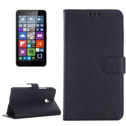 Etui Portefeuille Support Couleur Noir pour Nokia Microsoft Lumia 640 XL