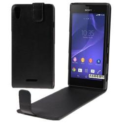 Etui de Protection vertical Languette Magnétique noir pour Sony Xperia T3