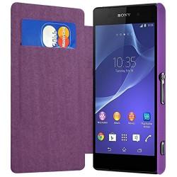 Housse Etui à rabat latéral et porte-carte pour Sony Xperia Z2 Couleur Violet + Film