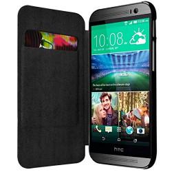 Etui Porte Carte pour HTC One M8 couleur Noir + Film de Protection