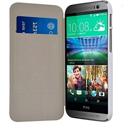 Etui Porte Carte pour HTC One M8 couleur Blanc + Film de Protection