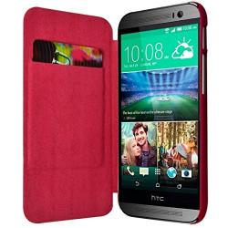 Coque Etui à rabat porte-carte pour HTC One M8 couleur rose fushia + Film de Protection
