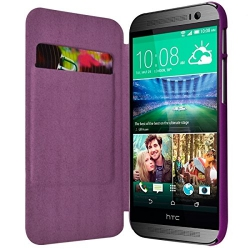 Etui Porte Carte pour HTC One M8 couleur Violet + Film de Protection