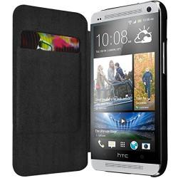 Etui à rabat latéral et porte-carte couleur Noir pour HTC One M7 + Film de Protection