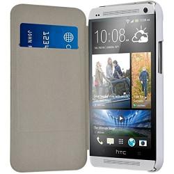 Etui à rabat latéral et porte-carte pour HTC One M7 + Film de Protection