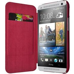 Etui à rabat latéral et porte-carte couleur Rose Fushia pour HTC One M7 + Film de Protection