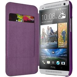 Etui à rabat latéral et porte-carte couleur Violet pour HTC One M7 + Film de Protection