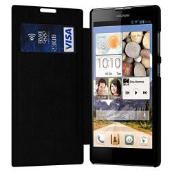 Etui à rabat latéral et porte-carte Noir pour Huawei Ascend G740 + Film de Protection