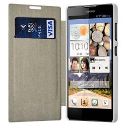 Etui à rabat latéral et porte-carte Blanc pour Huawei Ascend G740 + Film de Protection