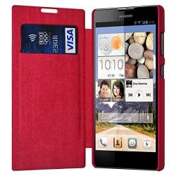 Etui à rabat latéral et porte-carte Rose Fushia pour Huawei Ascend G740 + Film de Protection