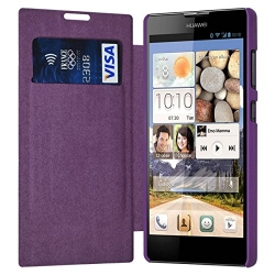 Etui à rabat latéral et porte-carte Violet pour Huawei Ascend G740 + Film de Protection