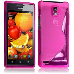 Housse Etui Coque S-Line couleur Rose Fushia pour Huawei Ascend P1 S + Film de Protection
