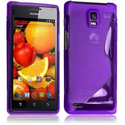 Housse Etui Coque S-Line couleur Violet pour Huawei Ascend P1 S + Film de Protection