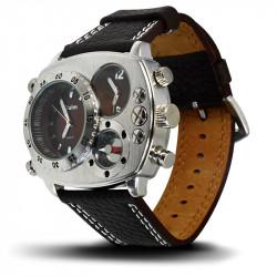 Montre Homme, Bracelet Cuir, 3 Cadrants - Bracelet Noir, Cadrant Marron