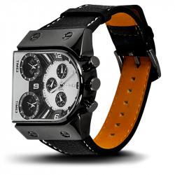 Montre Homme, Bracelet Cuir, 3 Cadrants - Bracelet Noir, Cadrant Noir et Blanc