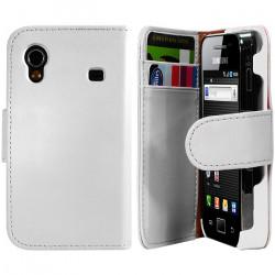 Housse Coque Etui Portefeuille pour Samsung Galaxy Ace Couleur Blanc