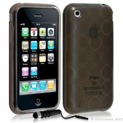 Housse coque etui gel rond transparent pour Apple Iphone 3G/3Gs couleur noir + Stylet