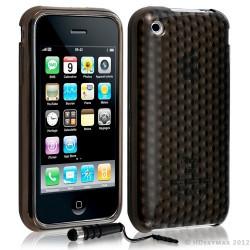 Housse coque etui gel damier transparent pour Apple Iphone 3G/3Gs couleur noir + Stylet