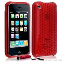 Housse coque etui gel damier transparent pour Apple Iphone 3G/3Gs couleur rouge + Stylet