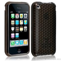Housse coque etui gel damier transparent pour Apple Iphone 3G/3Gs couleur noir