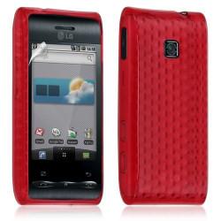 Housse coque etui gel pour LG Optimus GT540 couleur rouge + Film protecteur