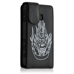 Housse coque etui pour LG Optimus GT540 couleur noir motif tête de mort + Film protecteur