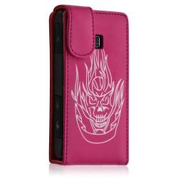Housse coque etui pour LG Optimus GT540 couleur rose fushia motif tête de mort + Film protecteur