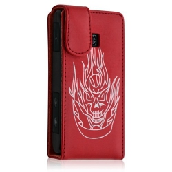 Housse coque etui pour LG Optimus GT540 couleur rouge motif tête de mort + Film protecteur