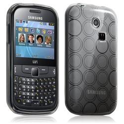 Housse coque étui gel cercle transparent pour Samsung Chat 335 S3350 couleur blanc
