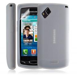 Housse coque étui en silicone transparent pour Samsung Wave 2 S8530 couleur blanc + Film protecteur