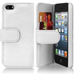 Housse Coque Etui Portefeuille pour Apple Iphone 5 couleur Blanc