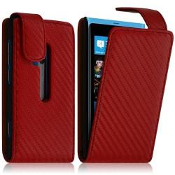 Housse coque étui Gauffré pour Nokia Lumia 800 couleur Rouge