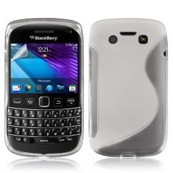 Housse coque étui en gel pour BlacBerry Bold 9790 motif vague couleur blanc transparent + Film protecteur
