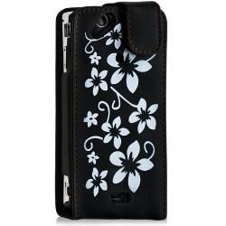 Housse coque étui pour Sony Ericsson Xperia x12 Arc / Arc S motif fleurs couleur noir