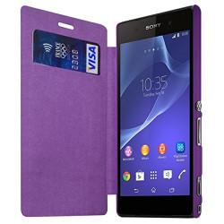 Housse Etui à rabat et porte-carte pour Sony Xperia M2 couleur Violet + Film