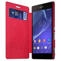 Housse Etui à rabat et porte-carte pour Sony Xperia M2 couleur Rose Fushia + Film