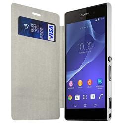 Housse Etui à rabat et porte-carte pour Sony Xperia M2 couleur Blanc + Film