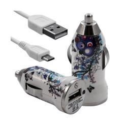 Chargeur voiture allume cigare USB avec câble data pour Wiko Cink Slim avec motif HF01