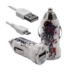 Chargeur voiture allume cigare USB avec câble data pour Wiko Cink Five avec motif HF12